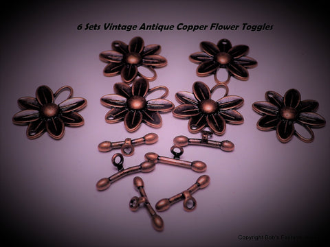 Lot of 6 Vintage Antiqued Copper Flower Toggles - Bestwire Jewelry
