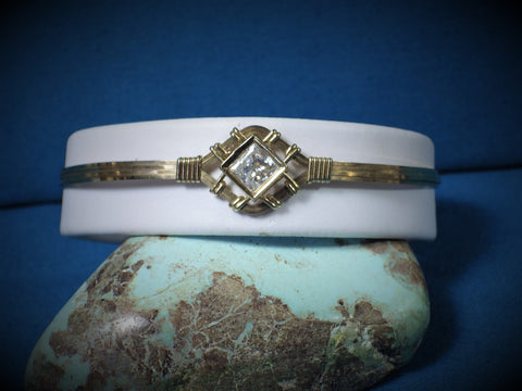 14 kt Gold Filled With 10 Kt Gold Mounted CZ Wire Bracelet - Bestwire Jewelry