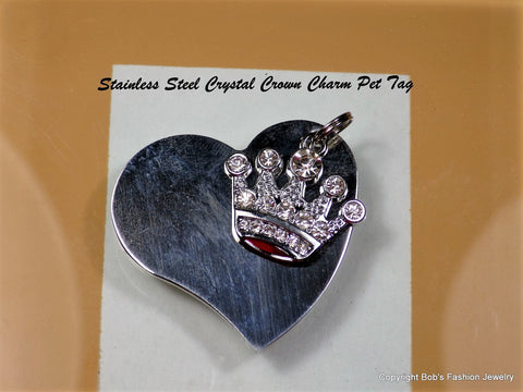 Heart & Crystal Crown Charm People & Pet Tags - Bestwire Jewelry