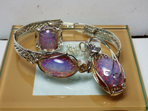 Stunning 3 pIece Czech Fire Opal Set