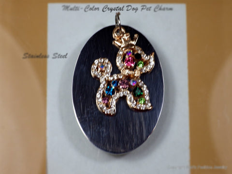 Crystal Poodle Charm People & Pet Tags - Bestwire Jewelry