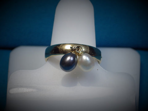 Black & White Drop Pearls in a 10k Gold Ring Setting - Bestwire Jewelry