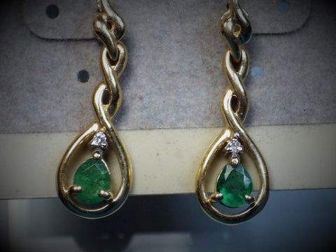 14K Gold Emerald & Diamond Earrings - Bestwire Jewelry