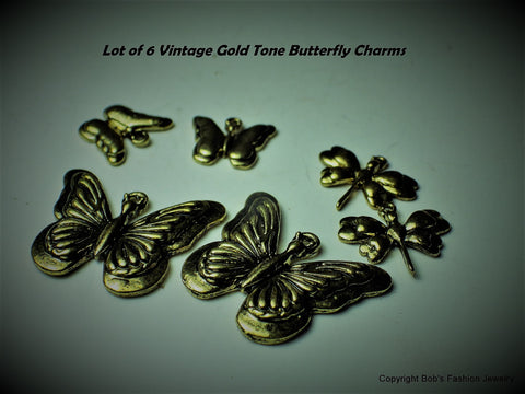 Vintage Lot of 6 Gold Tone Butterfly & Dragonfly Charms - Bestwire Jewelry