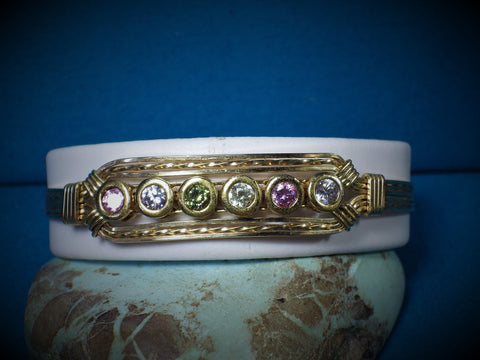14 kt Gold Filled Multi Color CZ Wire Bracelet - Bestwire Jewelry