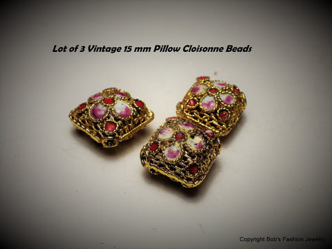 Vintage Lot of 3 Pink Cloisonne 15 mm Beads - Bestwire Jewelry