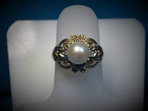 Champagne Pearl Ring w/Diamonds - Bestwire Jewelry