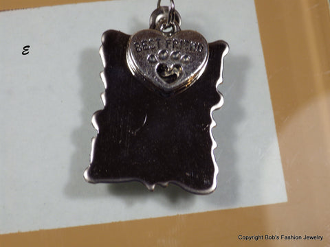 Jagged Edge Best Friend Heart Paw Print Pet Tag - Bestwire Jewelry