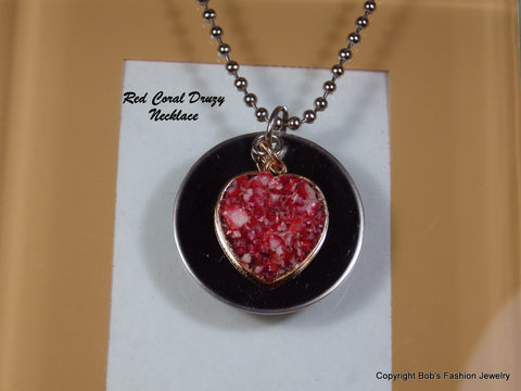 Red Coral Druzy Heart Necklace - Bestwire Jewelry
