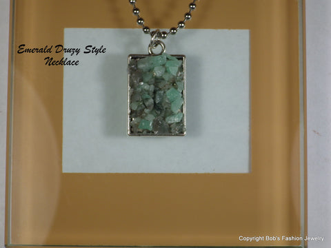 Genuine Emerald In Matrix Necklace - Bestwire Jewelry