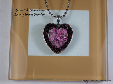 Garnet & Strawberry Quartz Dual Heart Necklace - Bestwire Jewelry