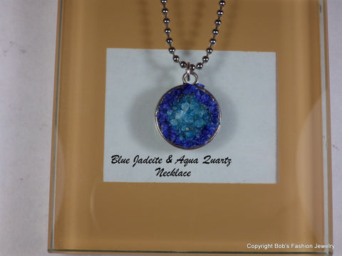 Blue Jadeite & Aqua Quartz Druzy Necklace - Bestwire Jewelry