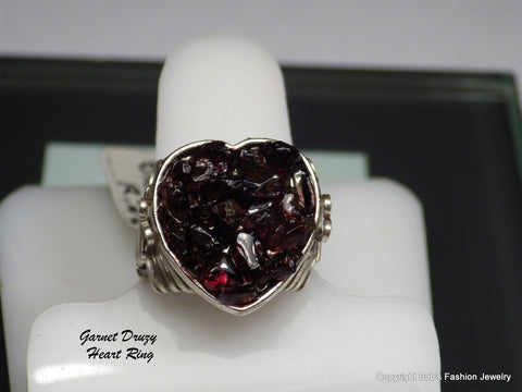 Genuine Garnet Druzy Heart Ring - Bestwire Jewelry