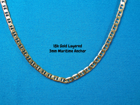 18k Gold Layered 3mm Maritime Anchor Necklace - Bestwire Jewelry
