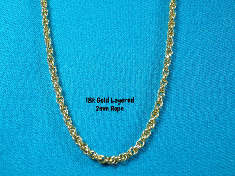 18k Gold Layered 2mm Rope Necklace - Bestwire Jewelry