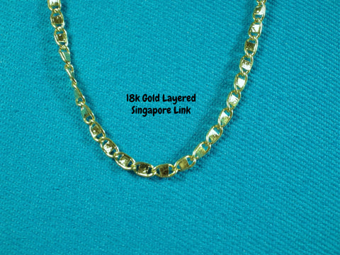 18k Gold Layered 2mm Singapore Necklace - Bestwire Jewelry