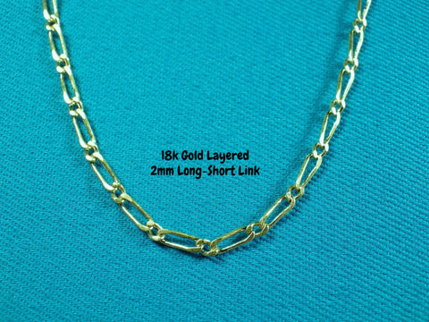 18k Gold Layered 2mm Long-Short Necklace - Bestwire Jewelry