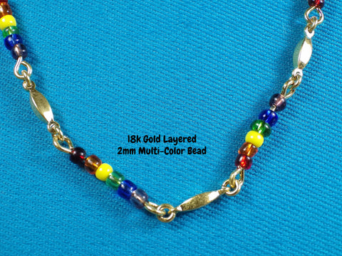 18k Gold Layered 2mm Multi-Color Bead Link Necklace - Bestwire Jewelry