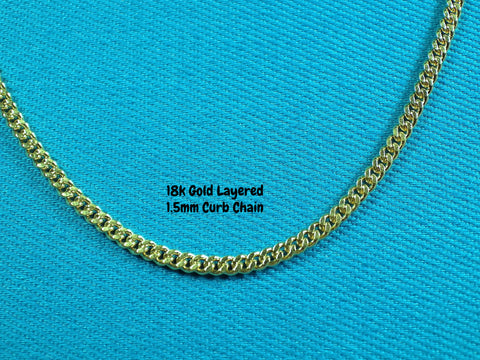 18k Gold Layered 1.5mm Curb Link Necklace - Bestwire Jewelry