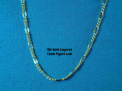 18k Gold Layered 1.5mm Figaro Link Necklace - Bestwire Jewelry