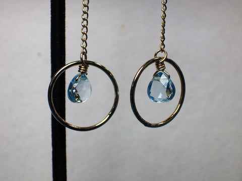 Faceted Blue Topaz With 14kt Gold Filled Dangle Hoop Earrings - Bestwire Jewelry