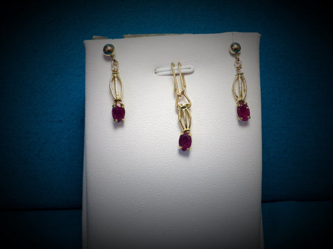 14kt Filled Ruby Earring & Pendant Set - Bestwire Jewelry