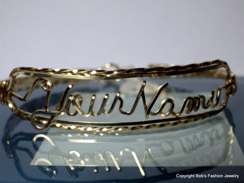 14k Gold Filled Or Sterling Silver Wire Name Bracelet - Bestwire Jewelry