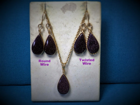 Blue Gold Stone Earrings & Pendant Jewelry Set - Bestwire Jewelry
