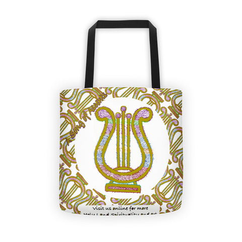 King David's Harp drawn from The 15 Ascents Psalms, Tote bag
