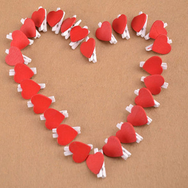 20 Heart Shaped Wooden Clips for Gift Wrapping
