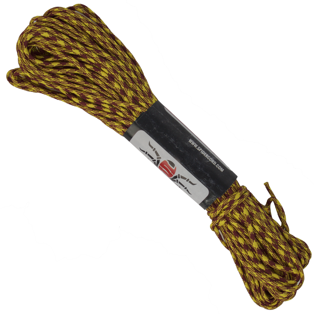 Spider Cord 600 Lb Paracord 100 Ft - Maroon And Lemon Yellow Design