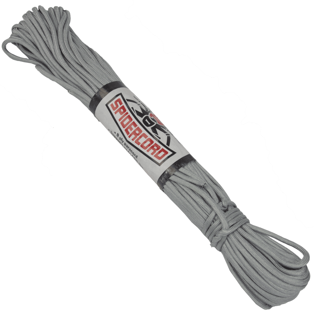 Spider Cord 600 Lb Paracord 100 Ft - Chromium Grey