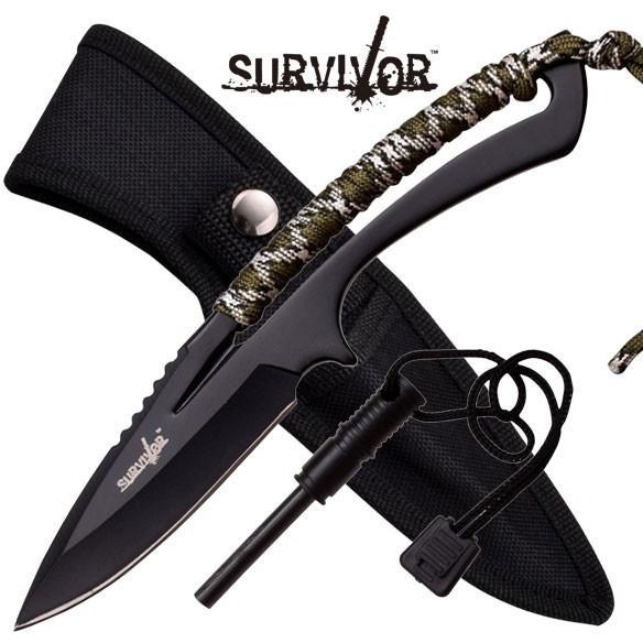 "8"" Fixed Blade, Outdoor Camo Cord Wrap Handle With Sheath"