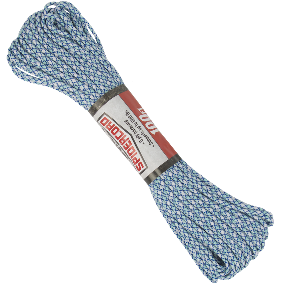 Spider Cord 600 Lb Paracord 100 Ft - Turquoise, Navy Blue And White Design