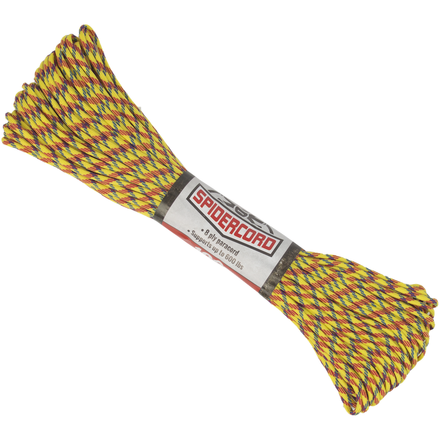 Survival Life Store | Spider Cord 600 Lb Paracord 100 Ft - Highlighter Yellow, Cardinal Red And Navy Blue Design