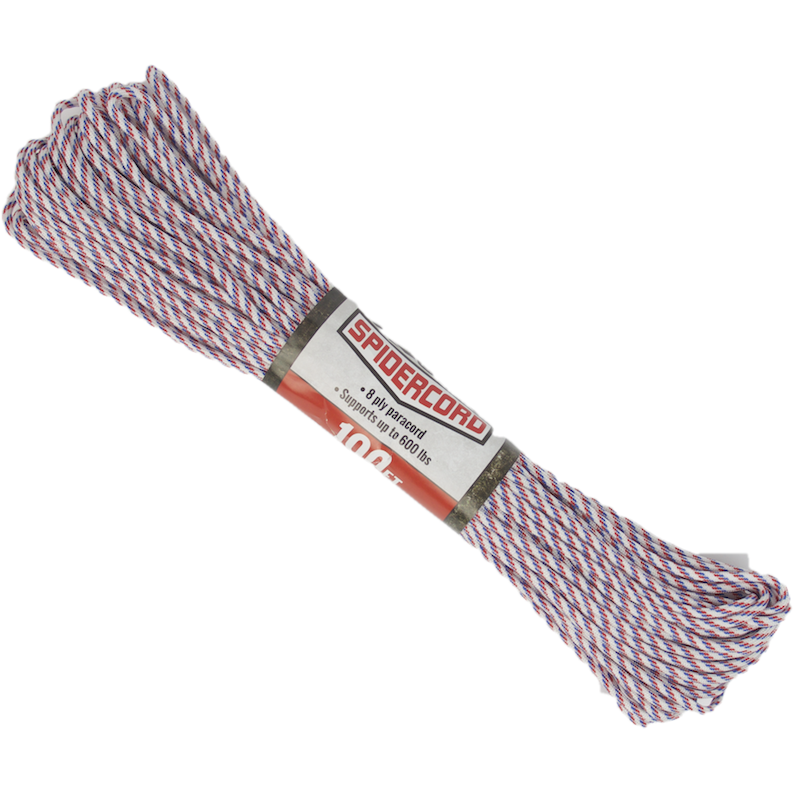 Survival Life Store | Spider Cord 600 Lb Paracord 100 Ft - Red, White And Blue Design