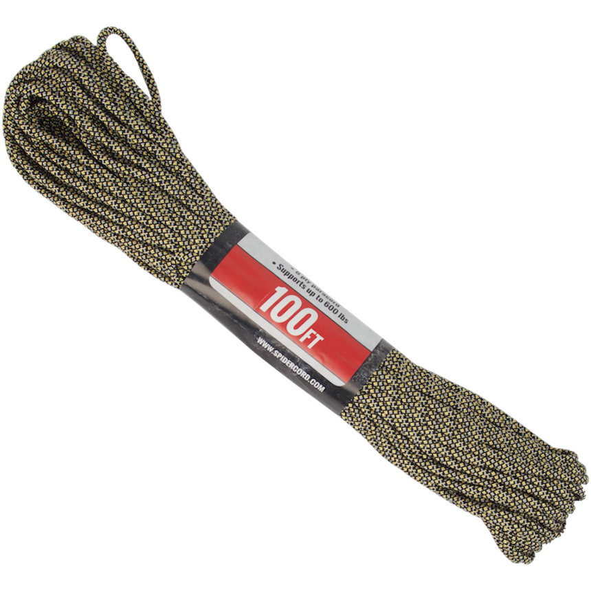 Survival Life Store | Spider Cord 600 Lb Paracord 100 Ft -Black-Gray-Gold-White-Design