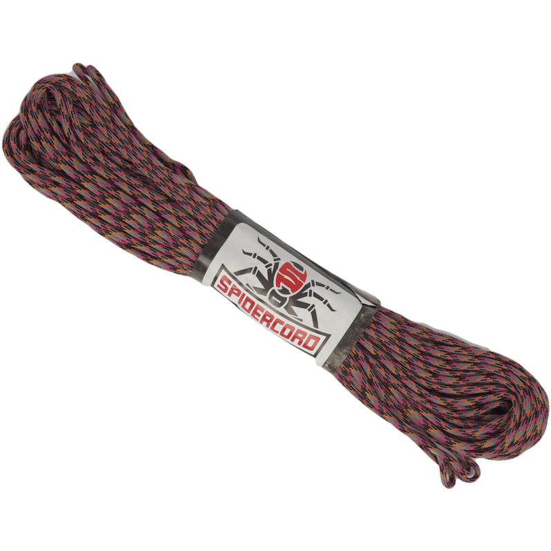 Spider Cord 600 Lb Paracord 100 Ft - Fuschia, Black, Gray And Orange Design