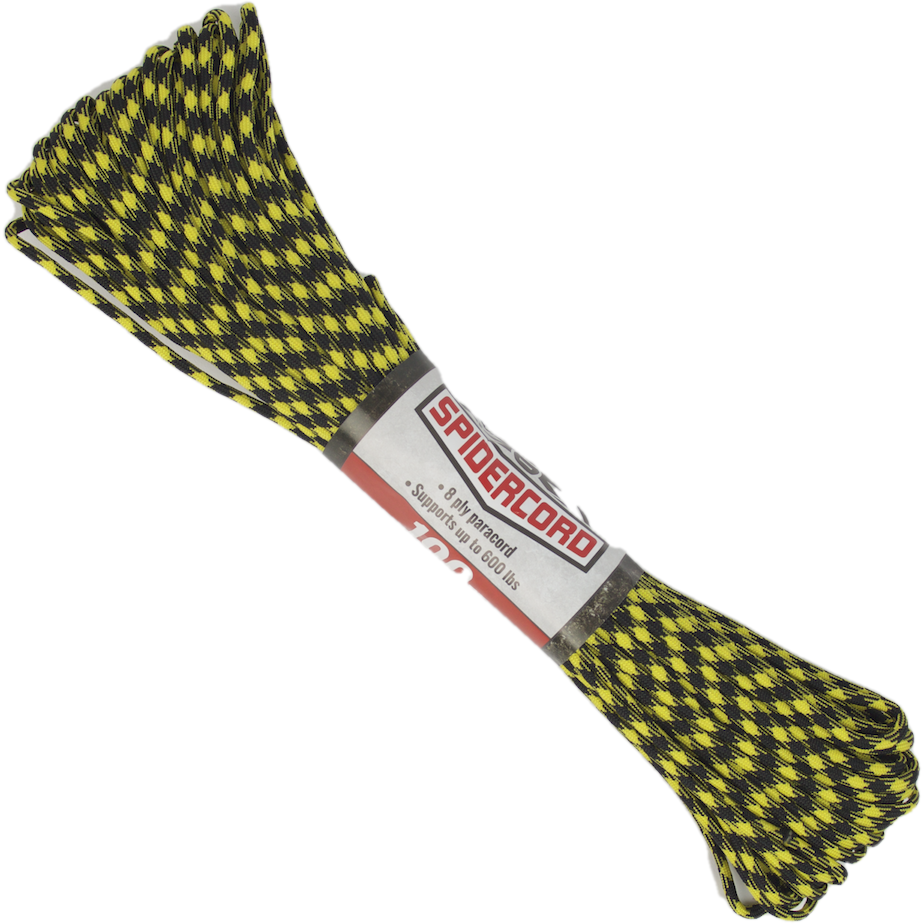 Spider Cord 600 Lb Paracord 100 Ft -Black-Highlighter-Yellow-Design