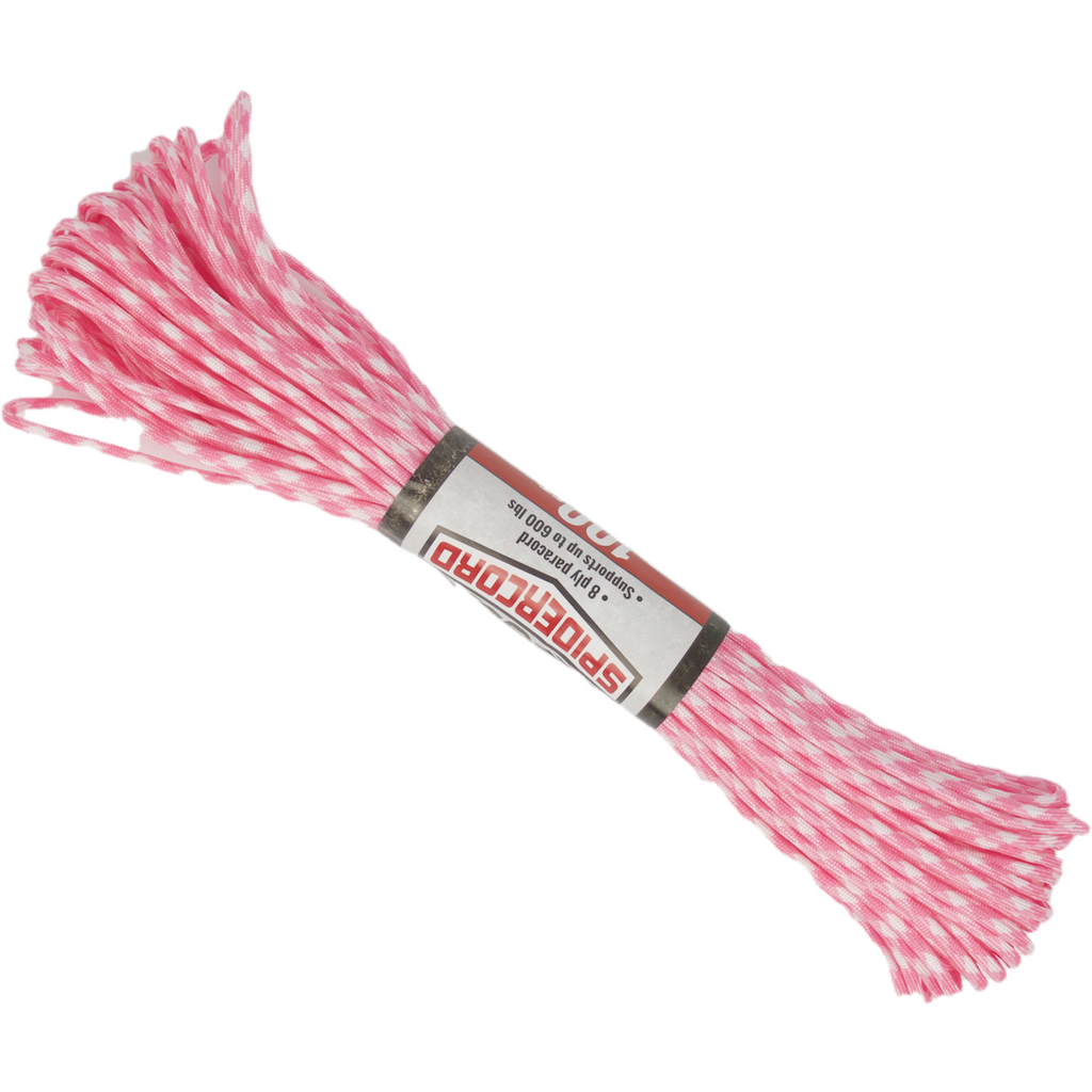 Spider Cord 600 Lb Paracord 100 Ft-Hot-Pink-White-Design