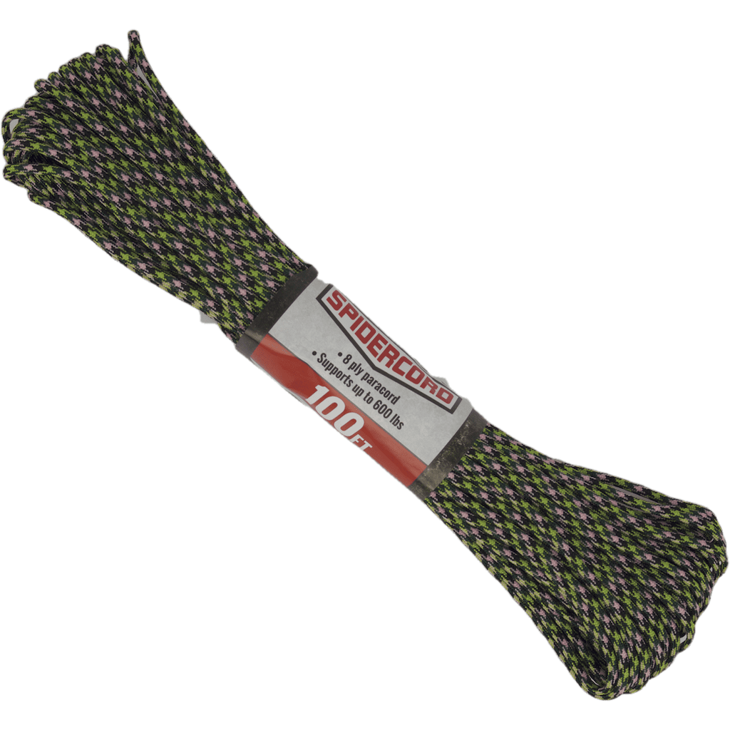 Spider Cord 600 Lb Paracord 100 Ft - Basil Green, Black, Lime Green And Blush Pink Design