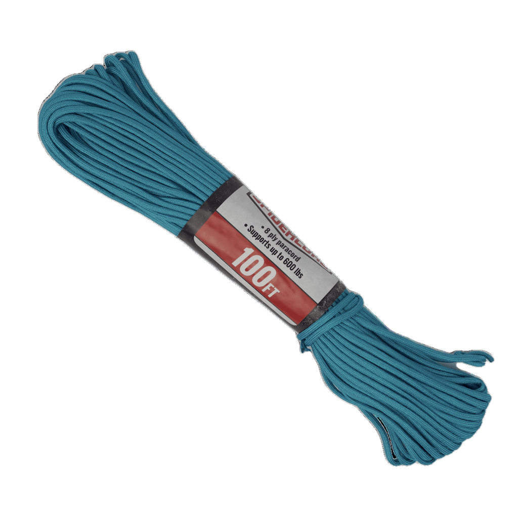 Spider Cord 600 Lb Paracord 100 Ft - Crystal Blue