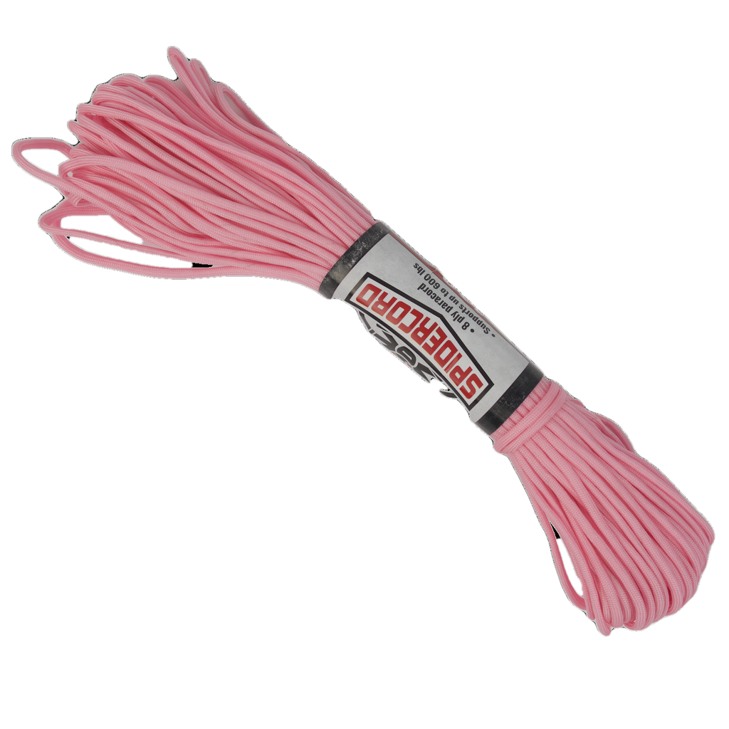 Spider Cord 600 Lb Paracord 100 Ft -Pink