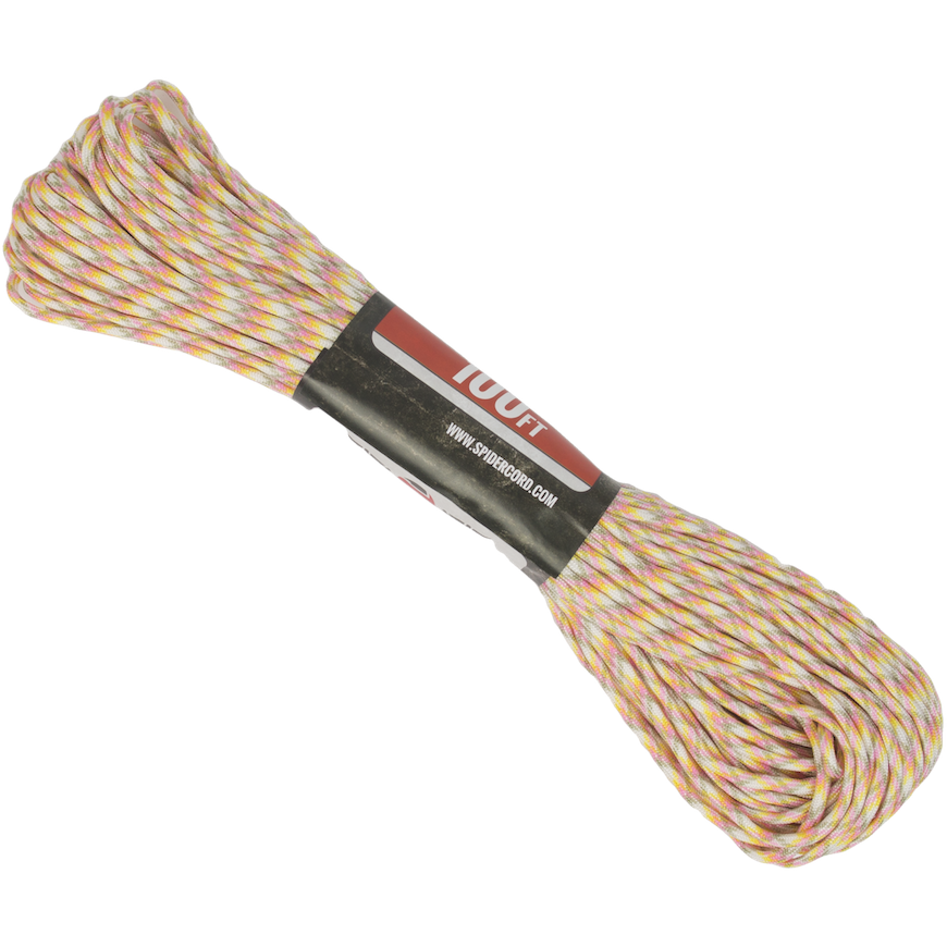 Spider Cord 600 Lb Paracord 100 Ft - Pink, Lemon Yellow, Gray And White Design