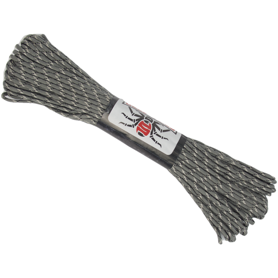 Survival Life Store | Spider Cord 600 Lb Paracord 100 Ft - Gray, Black And White Design