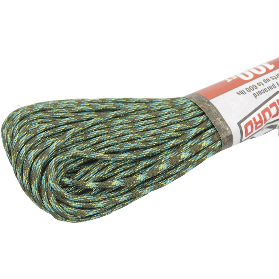 Survival Life Store | Spider Cord 600 Lb Paracord 100 Ft - Juniper Green, Turquoise And Green Design