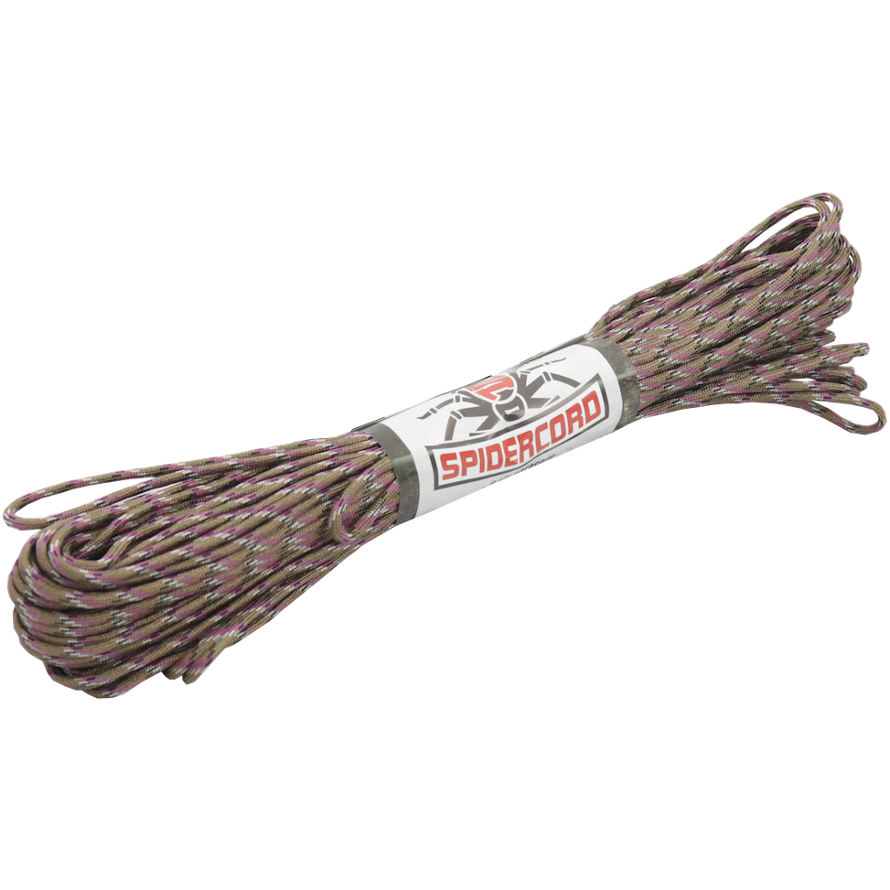 Spider Cord 600 Lb Paracord 100 Ft-Magenta-Military-Green-Brown-Grey-Black-Mix