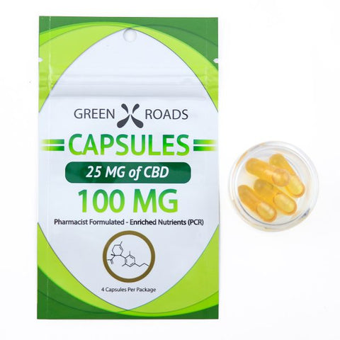25mg CBD Capsules 4ct Bag - Green Roads