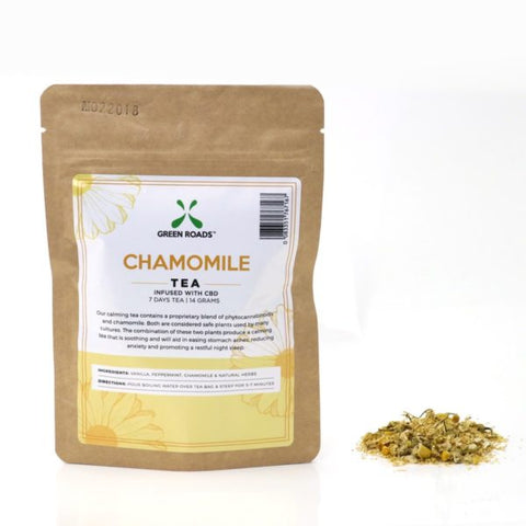 55mg  CBD Infused Chamomile 7 Day Tea 14 Gram Bag - Green Roads