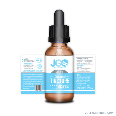 1000mg CBD Sublingual Tincture 30ml - Jolly Green Oil